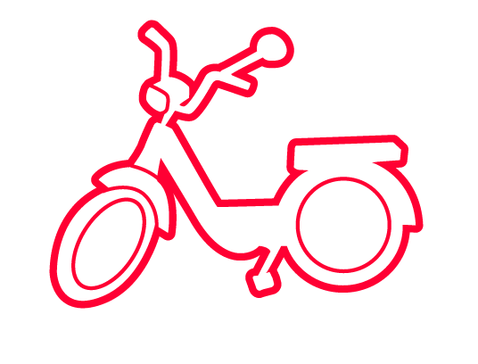 Ride a moped (2 stroke enginge)